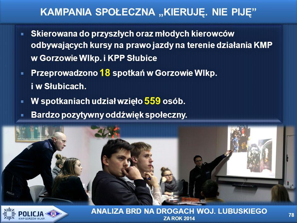  Skierowana do przyszłych oraz młodych kierowców odbywających kursy na prawo jazdy na terenie działania KMP w Gorzowie Wlkp.