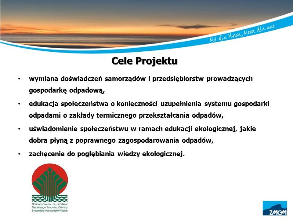 Cele Projektu wymiana doświadczeń samorządów i przedsiębiorstw prowadzących gospodarkę odpadową, edukacja społeczeństwa o konieczności uzupełnienia sy