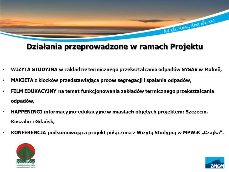 Wizyta studyjna w spalarni odpadów SYSAV (19 – 21 marzec 2013 r.) blisko 40 uczestników wizyty, spotkanie z przedstawicielami zakładu SYSAV połączone ze zwiedzeniem obiektu, zaprezentowanie sposobu zorganizowania gospodarki odpadami w Szwecji, przedstawienie stanu realizacji budowy zakładów termicznego przekształcania odpadów na terenie miast objętych projektem.