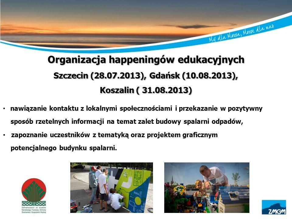 Organizacja happeningów edukacyjnych Szczecin (28.07.2013), Gdańsk (10.08.2013), Koszalin ( 31.08.2013) nawiązanie kontaktu z lokalnymi społecznościam