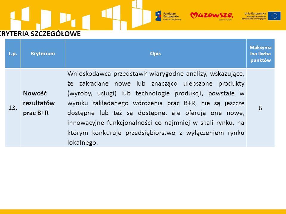 L.p.KryteriumOpis Maksyma lna liczba punktów 13.