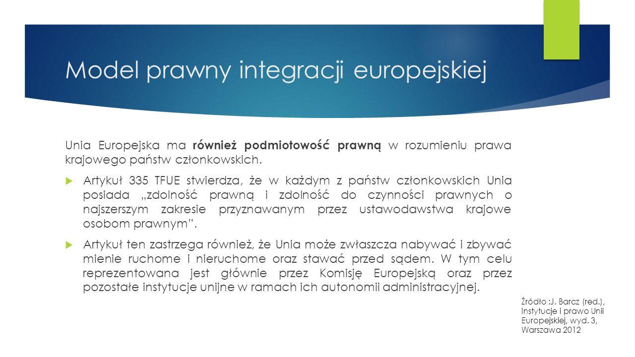Model prawny integracji europejskiej Unia Europejska ma również podmiotowość prawną w rozumieniu prawa krajowego państw członkowskich.