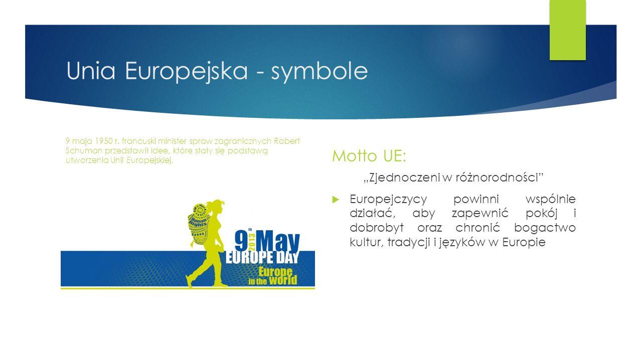 Unia Europejska - symbole 9 maja 1950 r. francuski minister spraw zagranicznych Robert Schuman przedstawił idee, które stały się podstawą utworzenia U