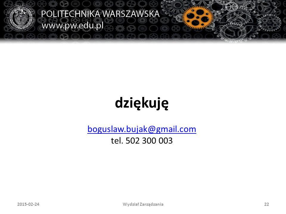 dziękuję boguslaw.bujak@gmail.com tel. 502 300 003 Wydział Zarządzania222015-02-24