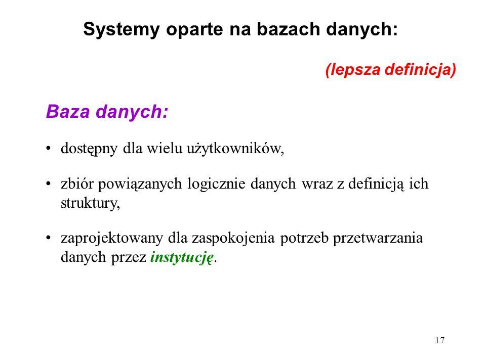 17 Systemy oparte na bazach danych: Baza danych: dostępny dla wielu użytkowników, zbiór powiązanych logicznie danych wraz z definicją ich struktury, zaprojektowany dla zaspokojenia potrzeb przetwarzania danych przez instytucję.