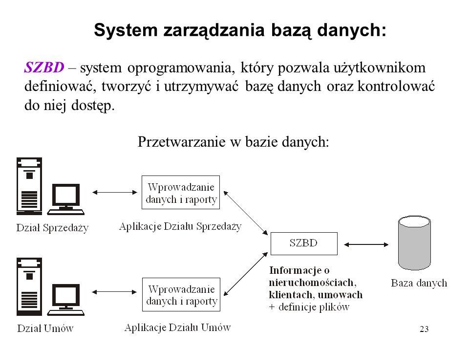 23 System zarządzania bazą danych: SZBD – system oprogramowania, który pozwala użytkownikom definiować, tworzyć i utrzymywać bazę danych oraz kontrolować do niej dostęp.