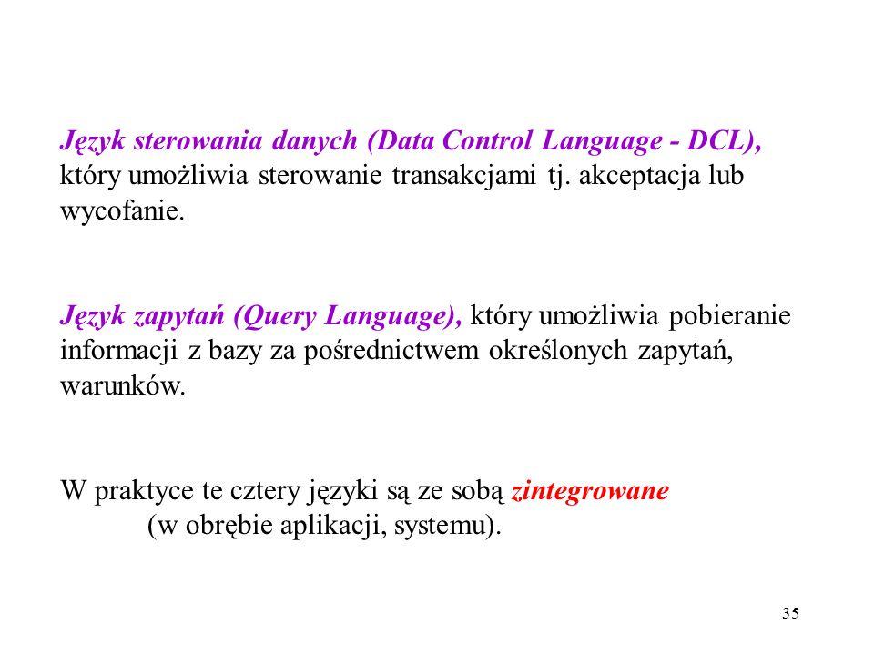 35 Język sterowania danych (Data Control Language - DCL), który umożliwia sterowanie transakcjami tj. akceptacja lub wycofanie. Język zapytań (Query L