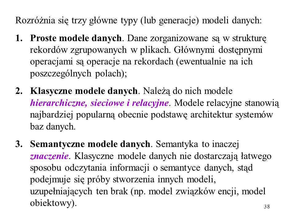 38 Rozróżnia się trzy główne typy (lub generacje) modeli danych: 1.Proste modele danych. Dane zorganizowane są w strukturę rekordów zgrupowanych w pli