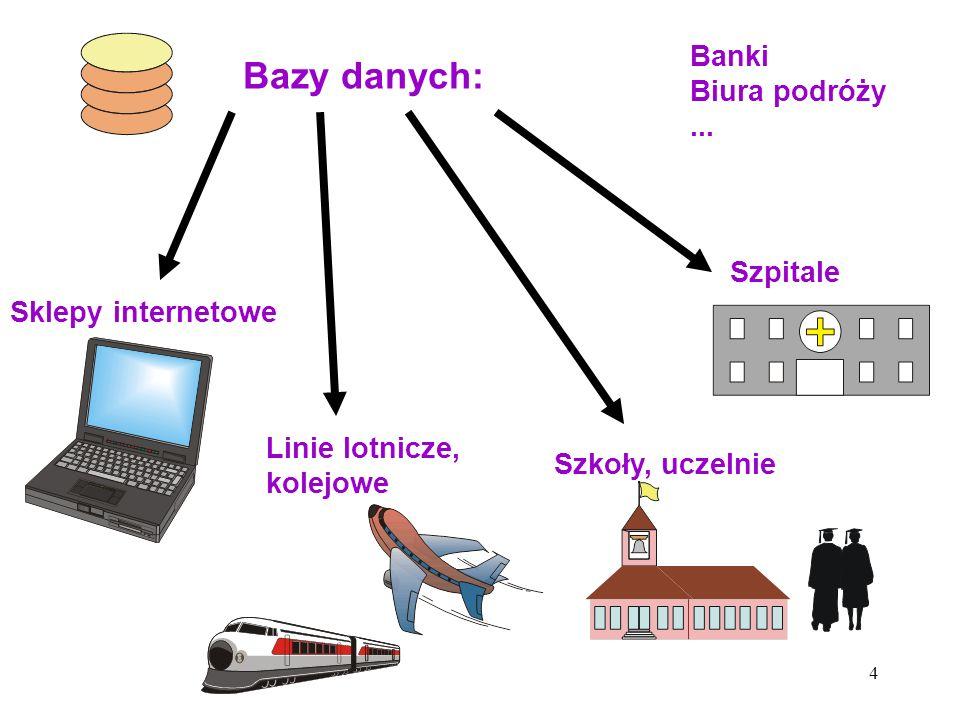 4 Bazy danych: Sklepy internetowe Linie lotnicze, kolejowe Szpitale Szkoły, uczelnie Banki Biura podróży...