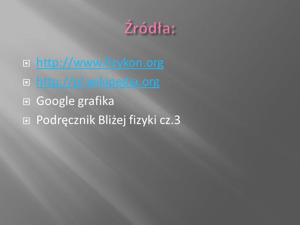  http://www.fizykon.org http://www.fizykon.org  http://pl.wikipedia.org http://pl.wikipedia.org  Google grafika  Podręcznik Bliżej fizyki cz.3