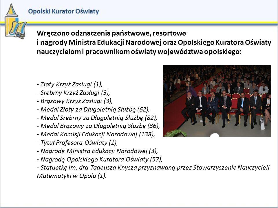 Wręczono odznaczenia państwowe, resortowe i nagrody Ministra Edukacji Narodowej oraz Opolskiego Kuratora Oświaty nauczycielom i pracownikom oświaty wo