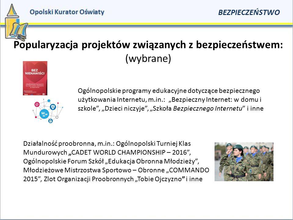 Popularyzacja projektów związanych z bezpieczeństwem: (wybrane) BEZPIECZEŃSTWO Ogólnopolskie programy edukacyjne dotyczące bezpiecznego użytkowania In