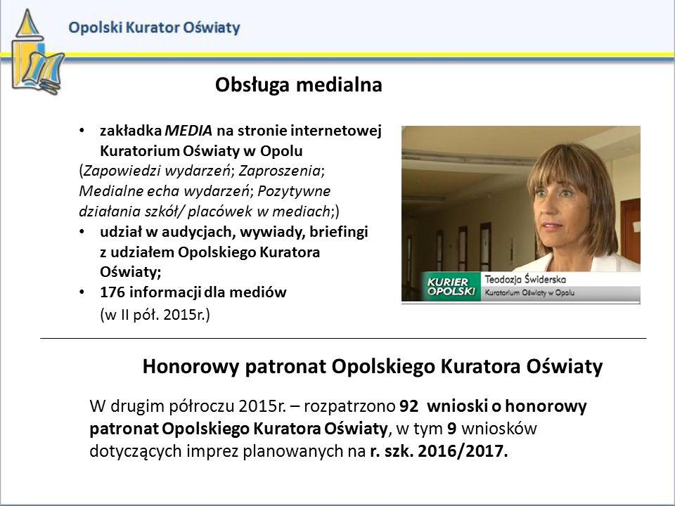 Obsługa medialna zakładka MEDIA na stronie internetowej Kuratorium Oświaty w Opolu (Zapowiedzi wydarzeń; Zaproszenia; Medialne echa wydarzeń; Pozytywn