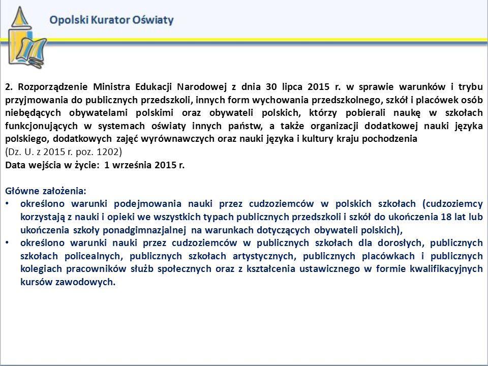 2. Rozporządzenie Ministra Edukacji Narodowej z dnia 30 lipca 2015 r. w sprawie warunków i trybu przyjmowania do publicznych przedszkoli, innych form