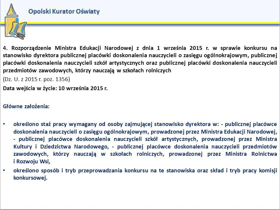 4. Rozporządzenie Ministra Edukacji Narodowej z dnia 1 września 2015 r. w sprawie konkursu na stanowisko dyrektora publicznej placówki doskonalenia na