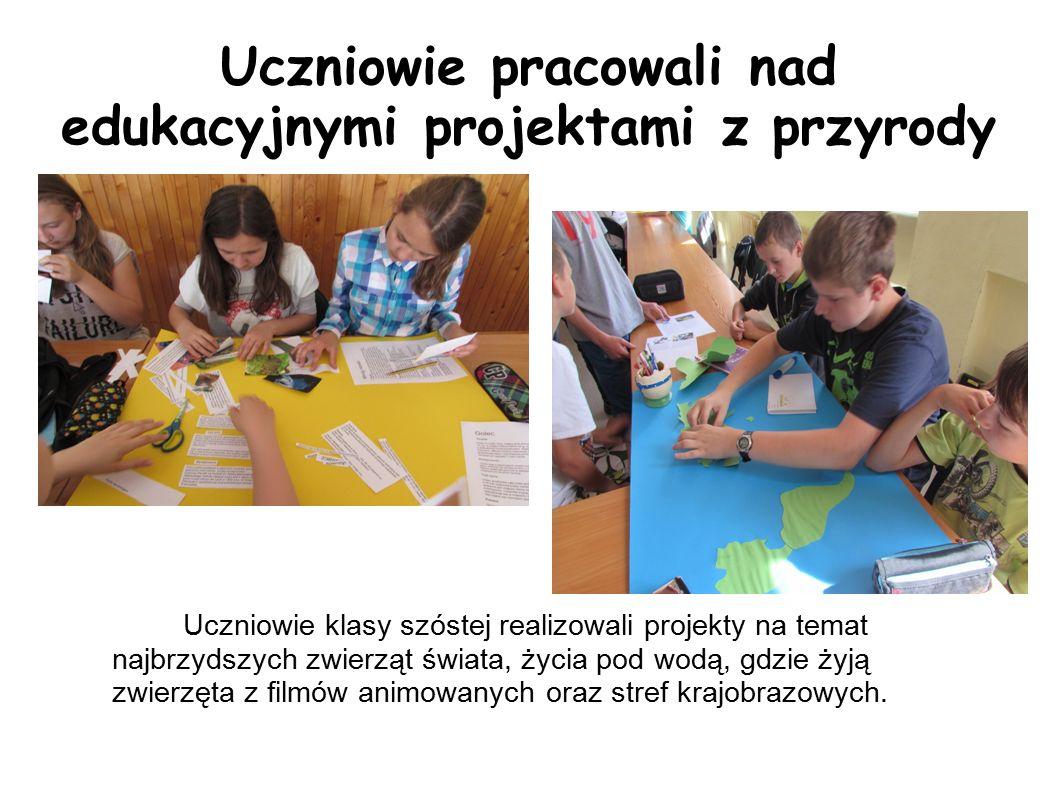 Uczniowie pracowali nad edukacyjnymi projektami z przyrody Uczniowie klasy szóstej realizowali projekty na temat najbrzydszych zwierząt świata, życia pod wodą, gdzie żyją zwierzęta z filmów animowanych oraz stref krajobrazowych.