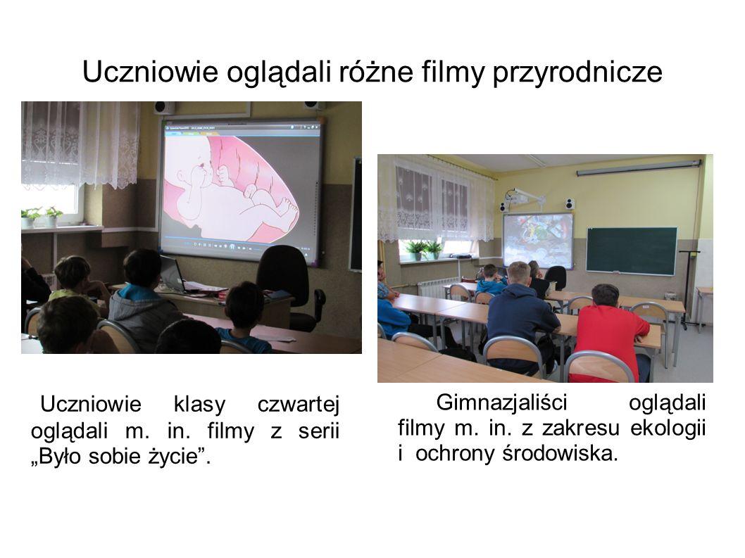Uczniowie oglądali różne filmy przyrodnicze Uczniowie klasy czwartej oglądali m.