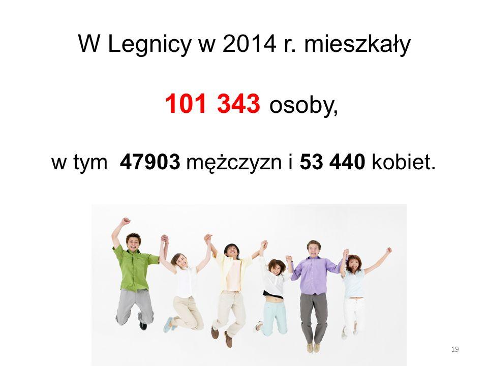 19 W Legnicy w 2014 r. mieszkały 101 343 osoby, w tym 47903 mężczyzn i 53 440 kobiet.