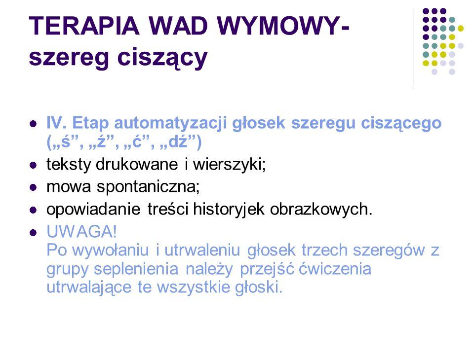 """TERAPIA WAD WYMOWY- szereg ciszący IV. Etap automatyzacji głosek szeregu ciszącego (""""ś"""", """"ź"""", """"ć"""", """"dź"""") teksty drukowane i wierszyki; mowa spontanicz"""