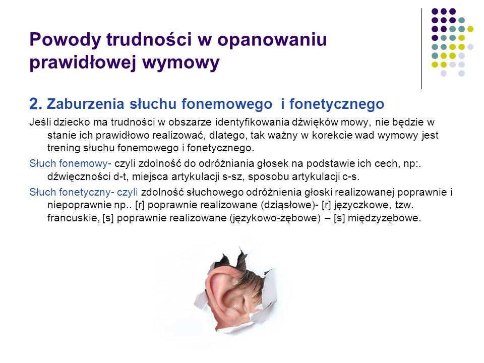 Powody trudności w opanowaniu prawidłowej wymowy 2. Zaburzenia słuchu fonemowego i fonetycznego Jeśli dziecko ma trudności w obszarze identyfikowania