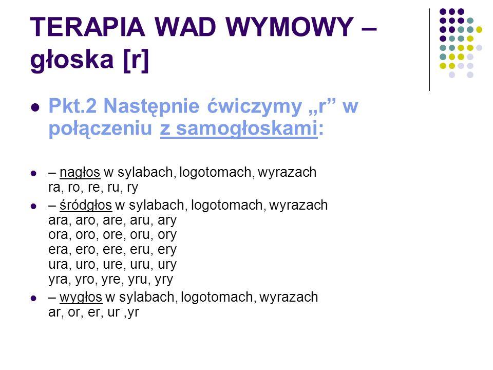 """TERAPIA WAD WYMOWY – głoska [r] Pkt.2 Następnie ćwiczymy """"r"""" w połączeniu z samogłoskami: – nagłos w sylabach, logotomach, wyrazach ra, ro, re, ru, ry"""