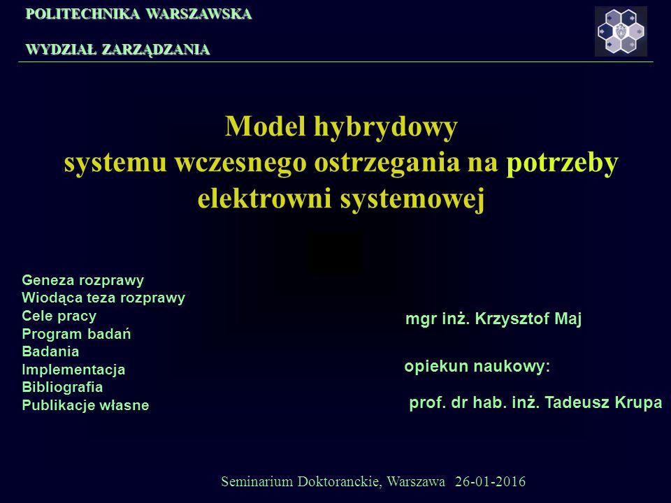 POLITECHNIKA WARSZAWSKA WYDZIAŁ ZARZĄDZANIA Model hybrydowy systemu wczesnego ostrzegania na potrzeby elektrowni systemowej mgr inż.