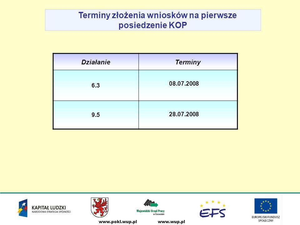 www.wup.plwww.pokl.wup.pl Terminy złożenia wniosków na pierwsze posiedzenie KOP DziałanieTerminy 6.3 08.07.2008 9.5 28.07.2008