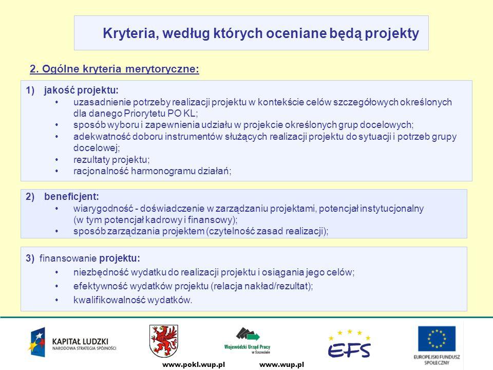 www.wup.plwww.pokl.wup.pl Kryteria, według których oceniane będą projekty 2.