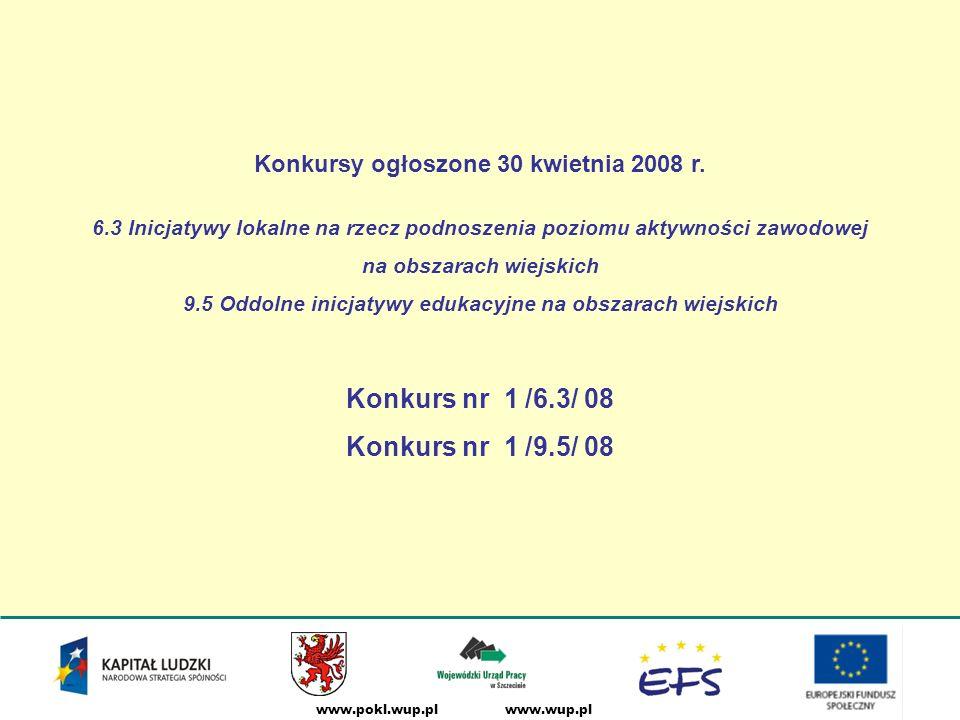 www.wup.plwww.pokl.wup.pl Terminy posiedzeń KOP DziałanieTerminy KOP 6.3 I posiedzenie KOP - 29 lipca 2008 II posiedzenie KOP - 21 października 2008 9.5 I posiedzenie KOP - 19 sierpnia 2008 II posiedzenie KOP - 4 listopada 2008