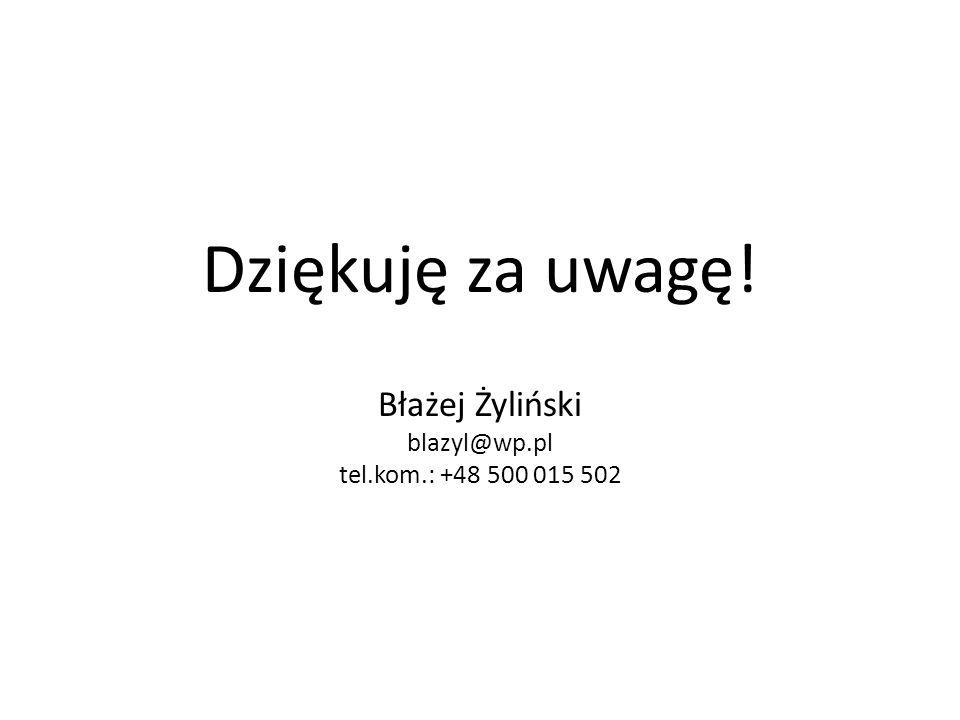 Dziękuję za uwagę! Błażej Żyliński blazyl@wp.pl tel.kom.: +48 500 015 502