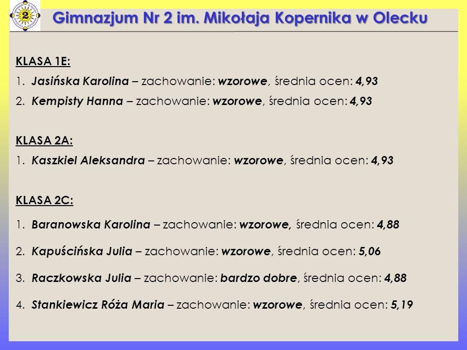 Gimnazjum Nr 2 im. Mikołaja Kopernika w Olecku KLASA 1E: 1.
