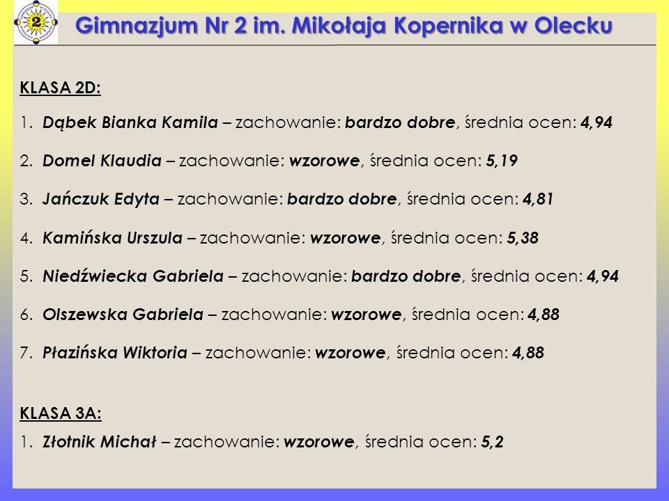 Gimnazjum Nr 2 im. Mikołaja Kopernika w Olecku KLASA 2D: 1.