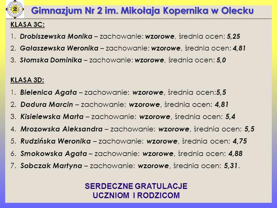Gimnazjum Nr 2 im. Mikołaja Kopernika w Olecku KLASA 3C: 1.