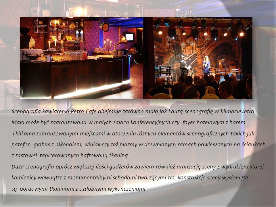 Scenografia kawiarenki Retro Cafe obejmuje zarówno małą jak i dużą scenografię w klimacie retro.