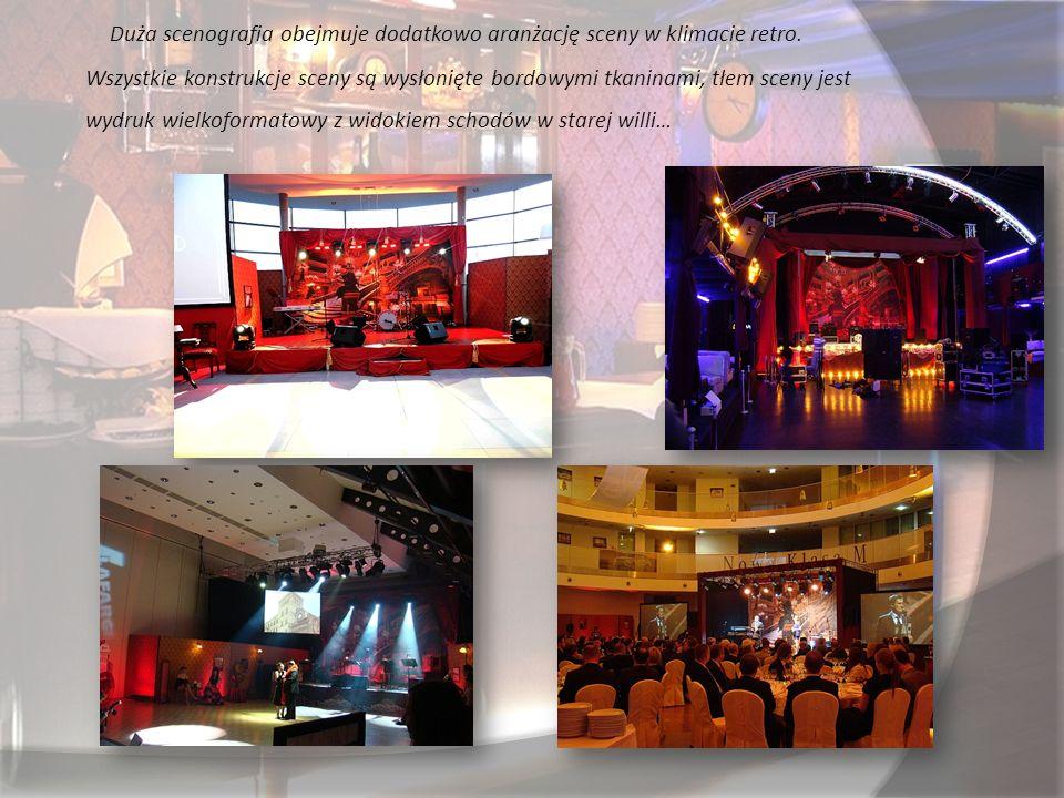 Na komplet scenografii Kawiarenki Retro składają się następujące elementy: - Retro Bar z elementami scenograficznymi - Ścianki kawiarenki w postaci zastawek retro - Elementy scenograficzne do postawienia (krzesła, stoliczki, lustra, winiak itp.) - Plazmy w drewnianych ramach z możliwością wykorzystania ich do wyświetlania zdjęć, prezentacji czy filmów - Aranżacja sceny z wysłonami i wydrukiem tła