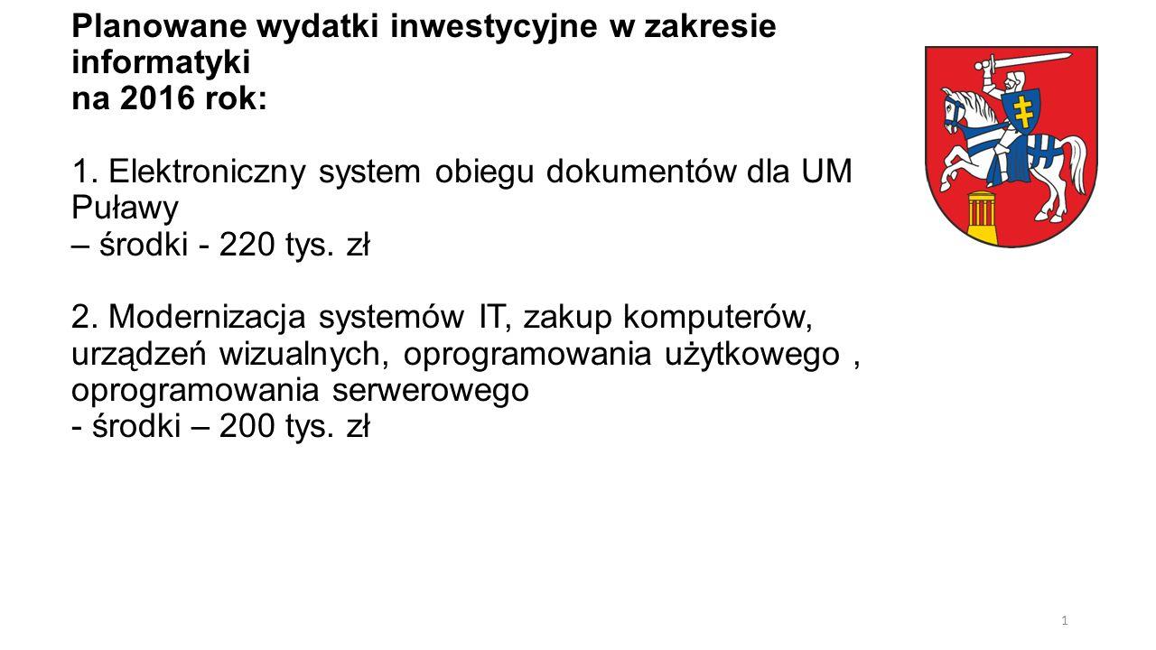 Planowane wydatki inwestycyjne w zakresie informatyki na 2016 rok: 1. Elektroniczny system obiegu dokumentów dla UM Puławy – środki - 220 tys. zł 2. M