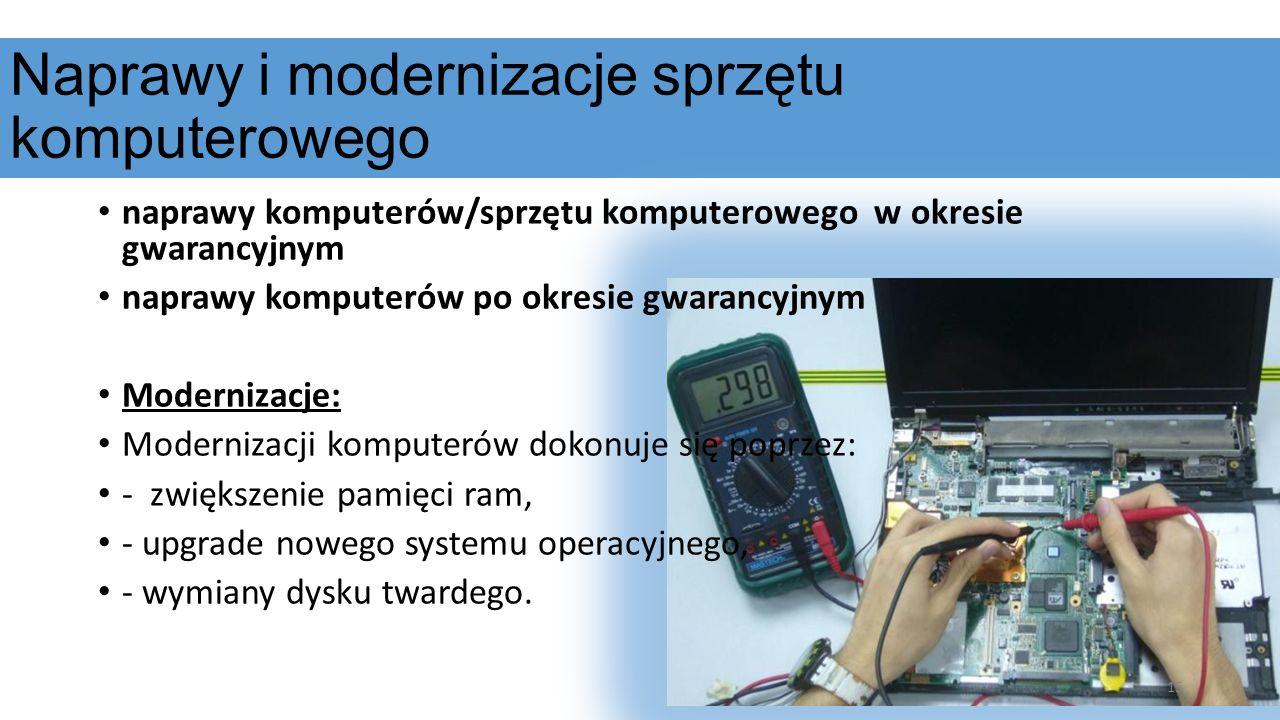 Naprawy i modernizacje sprzętu komputerowego naprawy komputerów/sprzętu komputerowego w okresie gwarancyjnym naprawy komputerów po okresie gwarancyjny