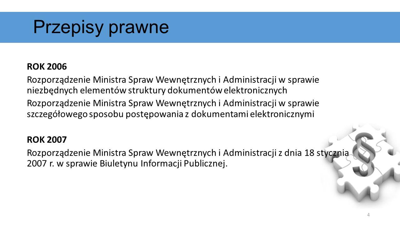 ROK 2006 Rozporządzenie Ministra Spraw Wewnętrznych i Administracji w sprawie niezbędnych elementów struktury dokumentów elektronicznych Rozporządzeni