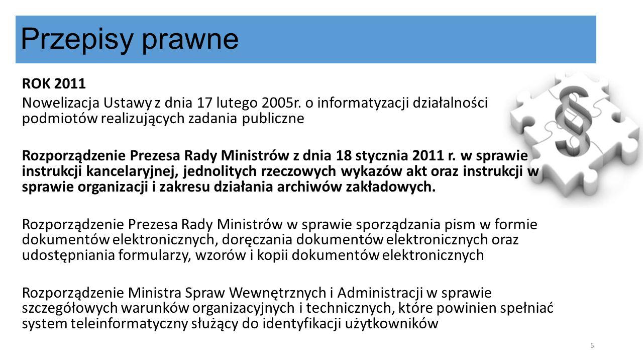 ROK 2011 Nowelizacja Ustawy z dnia 17 lutego 2005r. o informatyzacji działalności podmiotów realizujących zadania publiczne Rozporządzenie Prezesa Rad