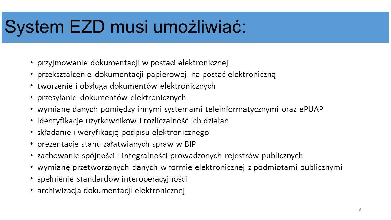 System EZD musi umożliwiać: przyjmowanie dokumentacji w postaci elektronicznej przekształcenie dokumentacji papierowej na postać elektroniczną tworzen