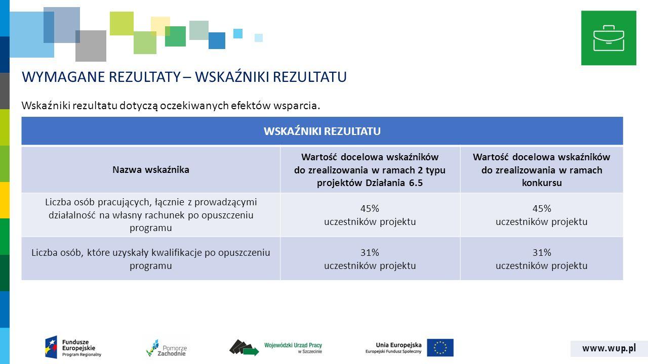 www.wup.pl WYMAGANE REZULTATY – WSKAŹNIKI REZULTATU Wskaźniki rezultatu dotyczą oczekiwanych efektów wsparcia.