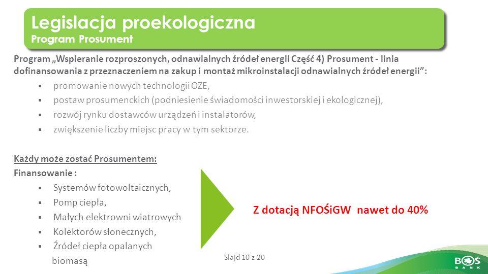"""Slajd 10 z 20 Program """"Wspieranie rozproszonych, odnawialnych źródeł energii Część 4) Prosument - linia dofinansowania z przeznaczeniem na zakup i montaż mikroinstalacji odnawialnych źródeł energii :  promowanie nowych technologii OZE,  postaw prosumenckich (podniesienie świadomości inwestorskiej i ekologicznej),  rozwój rynku dostawców urządzeń i instalatorów,  zwiększenie liczby miejsc pracy w tym sektorze."""
