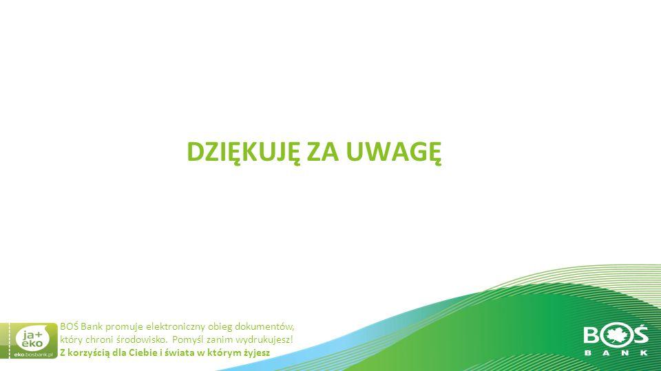 Slajd 20 z 20 Z korzyścią dla Ciebie i świata w którym żyjesz BOŚ Bank promuje elektroniczny obieg dokumentów, który chroni środowisko.