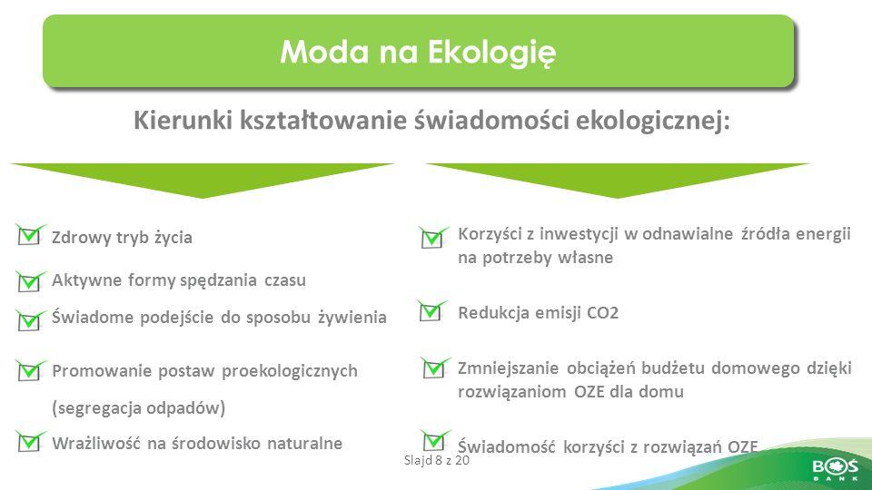 Slajd 19 z 20 Lojalność Klientów czyli jak budujemy naszą przewagę konkurencyjna Uczymy Polaków jak dzięki ekologii wydawać mniej i zarabiać więcej Lider w finasowaniu rozwiązań eko Szeroki wachlarz produktów ekologicznych oraz profesjonalne doradztwo ekologiczne Stabilność i bezpieczne partnerstwo dla obecnych i przyszłych Klientów