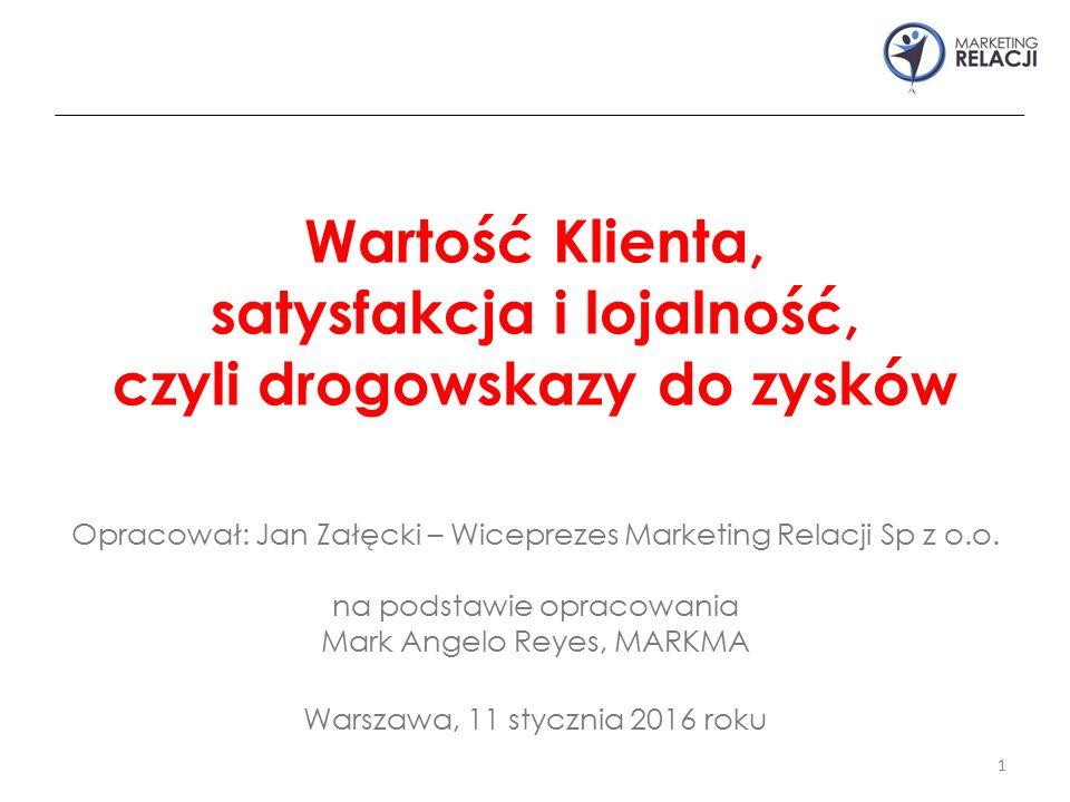 Opracował: Jan Załęcki – Wiceprezes Marketing Relacji Sp z o.o. na podstawie opracowania Mark Angelo Reyes, MARKMA Warszawa, 11 stycznia 2016 roku 1 W