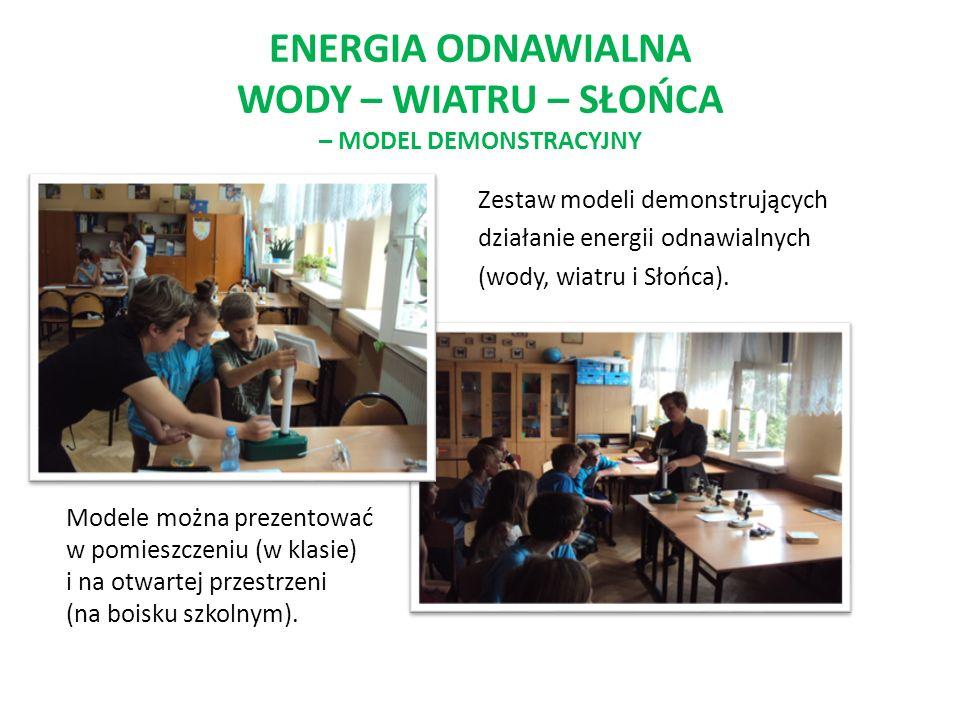 ENERGIA ODNAWIALNA WODY – WIATRU – SŁOŃCA – MODEL DEMONSTRACYJNY Zestaw modeli demonstrujących działanie energii odnawialnych (wody, wiatru i Słońca).