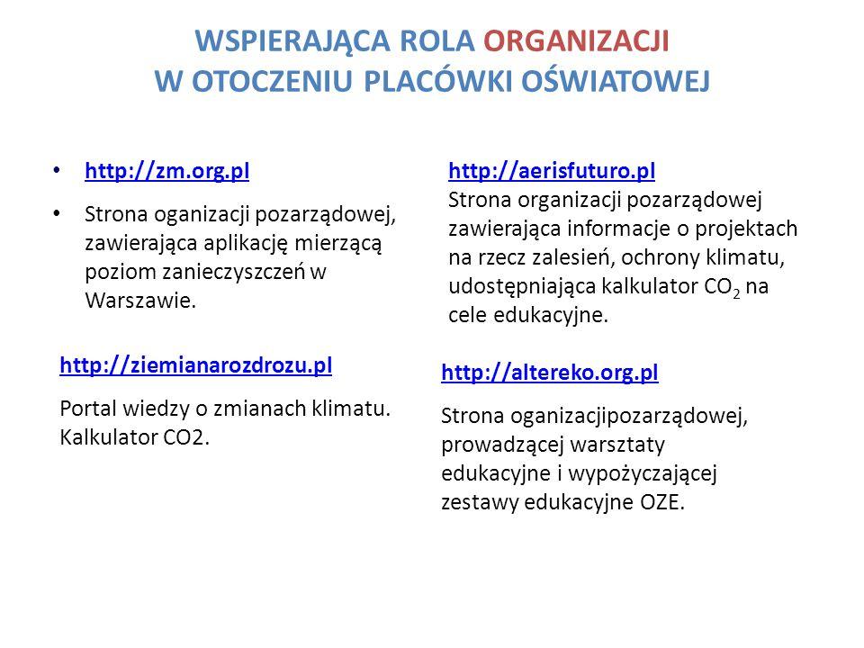 WSPIERAJĄCA ROLA ORGANIZACJI W OTOCZENIU PLACÓWKI OŚWIATOWEJ http://aerisfuturo.pl Strona organizacji pozarządowej zawierająca informacje o projektach