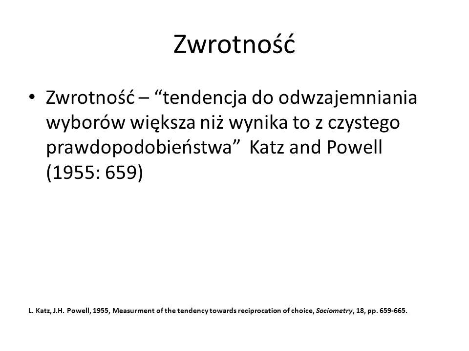 Zwrotność Zwrotność – tendencja do odwzajemniania wyborów większa niż wynika to z czystego prawdopodobieństwa Katz and Powell (1955: 659) L.