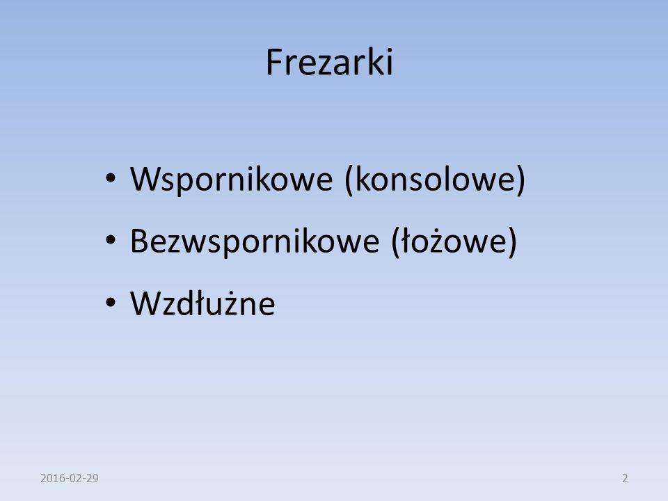 Frezarki Wspornikowe (konsolowe) Bezwspornikowe (łożowe) Wzdłużne 2016-02-292