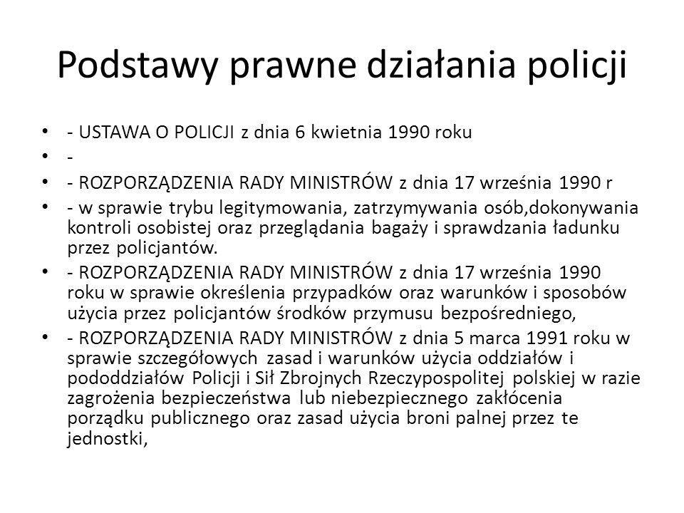 Podstawy prawne działania policji - USTAWA O POLICJI z dnia 6 kwietnia 1990 roku - - ROZPORZĄDZENIA RADY MINISTRÓW z dnia 17 września 1990 r - w spraw